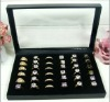 36 Slots Jewelry Rings Velvet Display Holder Organizer Show Case Tray Box Case