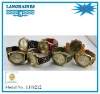 2012 fashion rhinestone gold japan movt steel back geneva watches cheeta leather strap LH8212