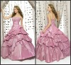 Q024 Beautiful Strapless Ball Gown Embroidered Full Length Taffeta Wholesale Quinceanera Dresses
