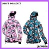 LADY'S PRINTED OUTDOOR SNOW SKI JACKET/ 2012 NEW STYLE SNOW SKI JACKET/COLORFUL SNOW SKI SUIT JACKET FOR WOMEN
