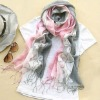 Three colors printed tassel soft fashion twill lady's scarf