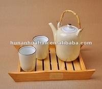 latest design bamboo handle teapot new bone china tea set