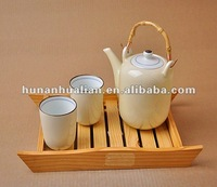 latest design bamboo handle teapot new bone china tea set