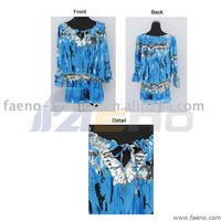 Water printed plaid chiffon blouses/dresses