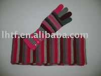 Acrylic Marl Two-piece Suit (Scarf,glove)