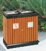 wood metal trash can