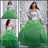 Q272 Beautiful Sleeveless Ball Gown Appliqued Floor Length Organza White and Green Quinceanera Dress