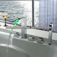 LED Water Temperature Bathtub Shower Faucet Light Sensor