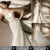 Sheath Strapless Pleated Bust Beaded Appliques Empire Waist Draping Watteau Wedding Dress