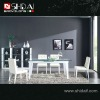 A-32 Modern high gloss glass top corner dining set