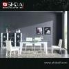 A-32 Modern high gloss glass top corner dining set