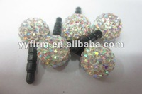 Jewelry 3.5MM Crystal Rhinestone Clay Pave Disco Beads Earphone Ear Cap Dock Dust Plug ! Hottest 2012 ! Newest !