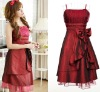 Elegant spaghetti strap bowknot on the waist purplish red evening dress FY3114 (300g)