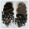 Jet black Curly Indian remy hair top closure