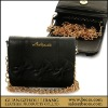 Black classic PU women wallet with metal chain cheap price