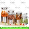 market promotional glass canister set with metal coating