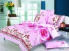 pink color, beautiful design, 4pcs pigment printed bedding set