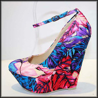 new arrive flower printed lady high heel shoes women wedge shoes