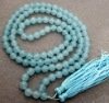 XG-J092 Blue 8mm Jade Beads with Tibet Buddhist Prayer