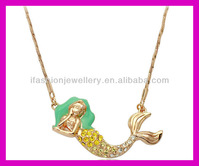 2013 hot fashion laterest mermaid pendant gold necklaces