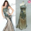 one shoulder beaded diamond peacok skirt natural waist peacock dresses evening prom dress fashion 2012