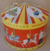 Cylinder music tin box with Animals Carousel art