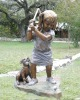 Little Bronze Girl with dog playing Sculpture