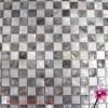 Freshe water shell mosaic, natural white and dyed brown mixed checker pattern