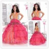 Orange Pink Organza V-Neck Halter Ball Gown Beaded Flower Girls' Dresses