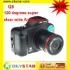 2012 Hotselling Q8 120 degrees super clear wide Angle lens support 64 GB TF card