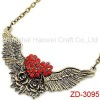 Vintage rhinestones Necklace accented with Wings