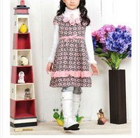 chirlden wool skirt pink short sleeves girls dress #82