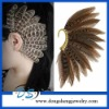 handcraft rock Warp peacock jewelry brown feather Clip earring