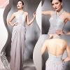 Elegant Silver Sequins Halter Long Sheath chiffon cocktail dress