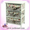 wooden cabinet with natural wicker baskets