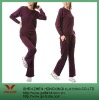 100%Polyester Wine Red women sport suit
