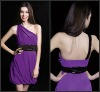 2013 New Arrival Free Shipping One-Shoulder Purple Mini Cocktail Dress Short