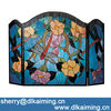 Dragonfly and Flower Tiffany Fireplace Screen