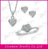 Stones Heart Ring, Pendant and Earrings Set Wedding Jewellery with CZ