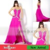 High quality floor-length straight chiffon sweetheart beaded evening dress 2012