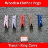 five different colors wooden clothes hanging pegs