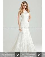 Mermaid cap sleeve lace wedding dress