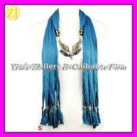 Angel Wing Pendant Jewellery Scarf with Beads WJ-037