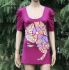 printed with short puff sleeve Ladies top