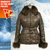 2012 European nylon fabric Finland fox furgoose down Ladies down jacket