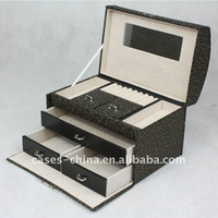 multilayer leather jewelry case with drawers
