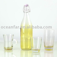 Multicolor glass bottle with glass cup