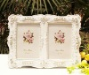 New design pure white resin photo frame with rose flowers
