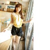 BF8127 lady colorful summer navy style stripe short jumpsuit (yellow)