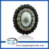 fashion Stretch Black pearl Rings
